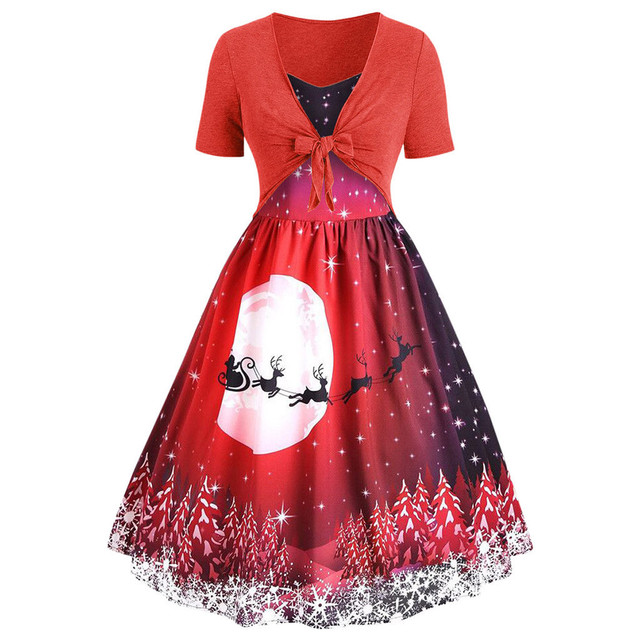 Vintage Women Christmas Printed dresses Short Sleeve Bow Knot A-Line Swing mini party Dress female clothes robe noel femme