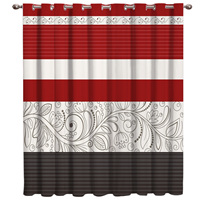 Vintage Flower Pattern Red Room Curtains Large Window Curtain Rod Bathroom Blackout Bedroom Fabric Curtain Panels With Grommets