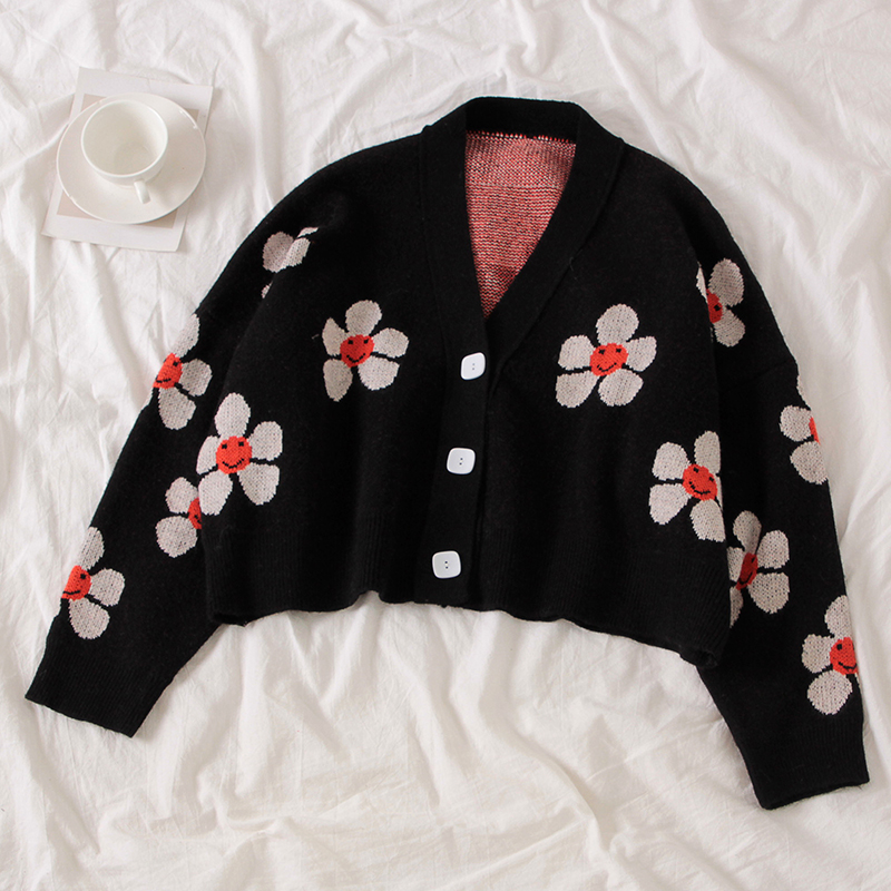 Heff48fcfa0a14e0aaef9cb8c05e5f6fb8 - Neploe Preppy Style Flower Knit Cardigans Sweater Women V Neck Loose elegaht Thicked Pull Femme Print Short Casual Coat 46565
