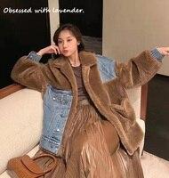 The latest cotton padded clothes, brown, khaki, denim stitching, winter, female
