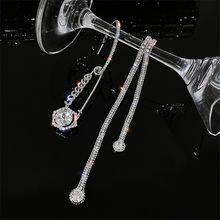 Pendientes de moda de clip de papel asimetría FYUAN, Pendientes colgantes de cristal con borla larga con diamantes de imitación para mujer, joyería de declaración