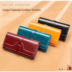 Image 5 - Luxury Design Vintage Oil Wax Women Genuine Leather Wallet Long Large Capacity Clutch Purse Ladies Bag Tri fold Phone Money Clip