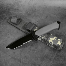 245mm 440C Outdoor kives field survival Camping Hunting tactical knife outdoor Zigzag blade 7CR17 straight knife rubber handle