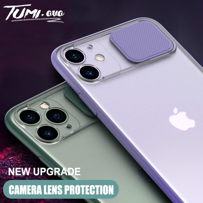 Slide Camera Lens Protection Shockproof Case For iPhone 11 Pro Max SE 2020 XS Max XR X 7 8 6 6S Plus Clear Matte Silicone Cover(China)