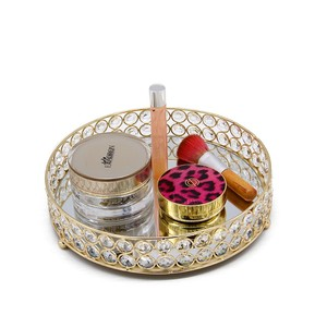Image 1 - クリスタルラウンドデザートカップケーキバニティトレイホルダープレート結婚式の装飾香水、ジュエリーや化粧北欧スタイル