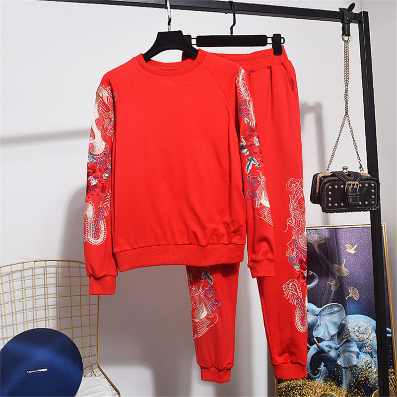 Spring Autumn Fashion Loose Female Set Embroidery Flower Long Sleeve Pullover + Long Pencil Pants Red Black 2pc Women Tracksuit