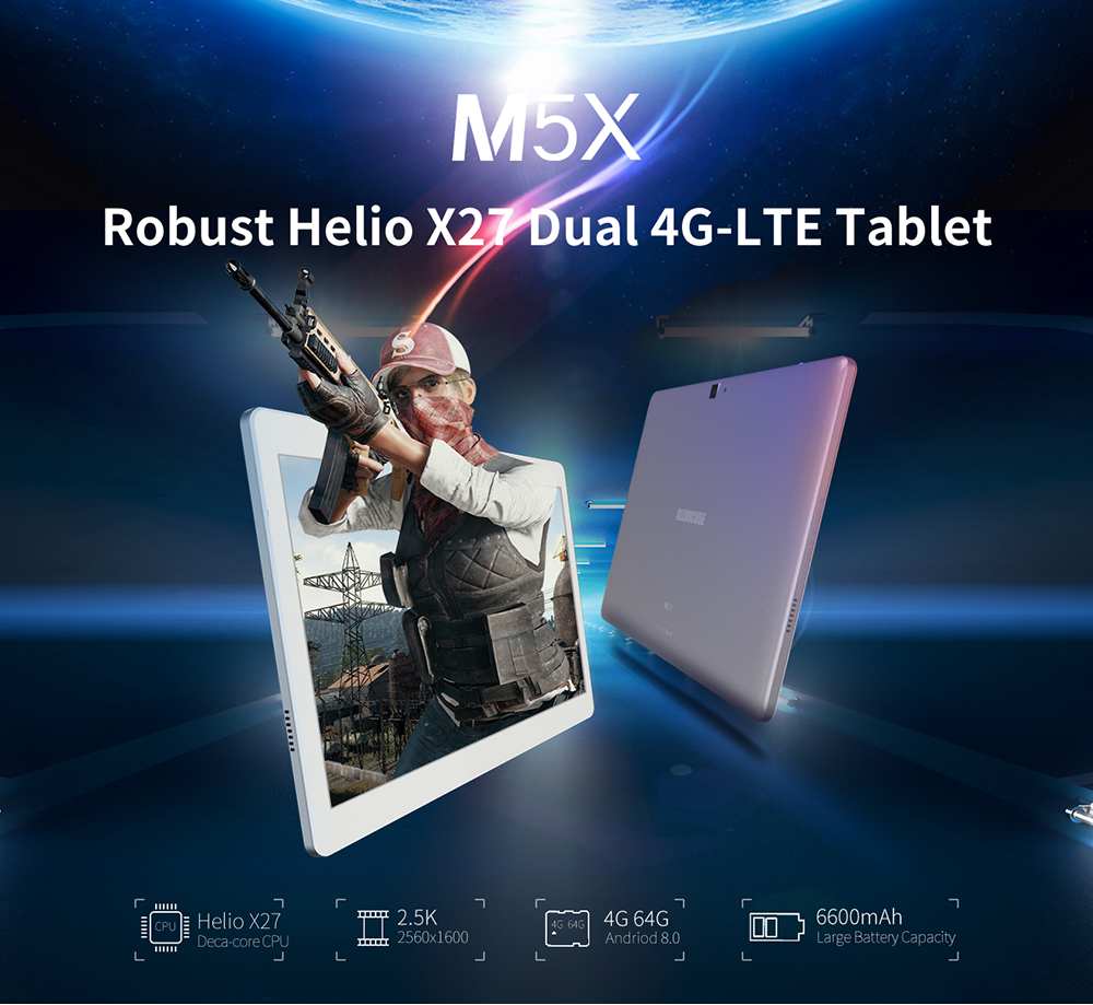 Alldocube 10.1 Inch 4G LTE Tablets M5X  MTK X27 10 Core Android 8.0 Phone Call Tablets PC 2560*1600 FHD IPS 4GB RAM 64GB ROM GPS