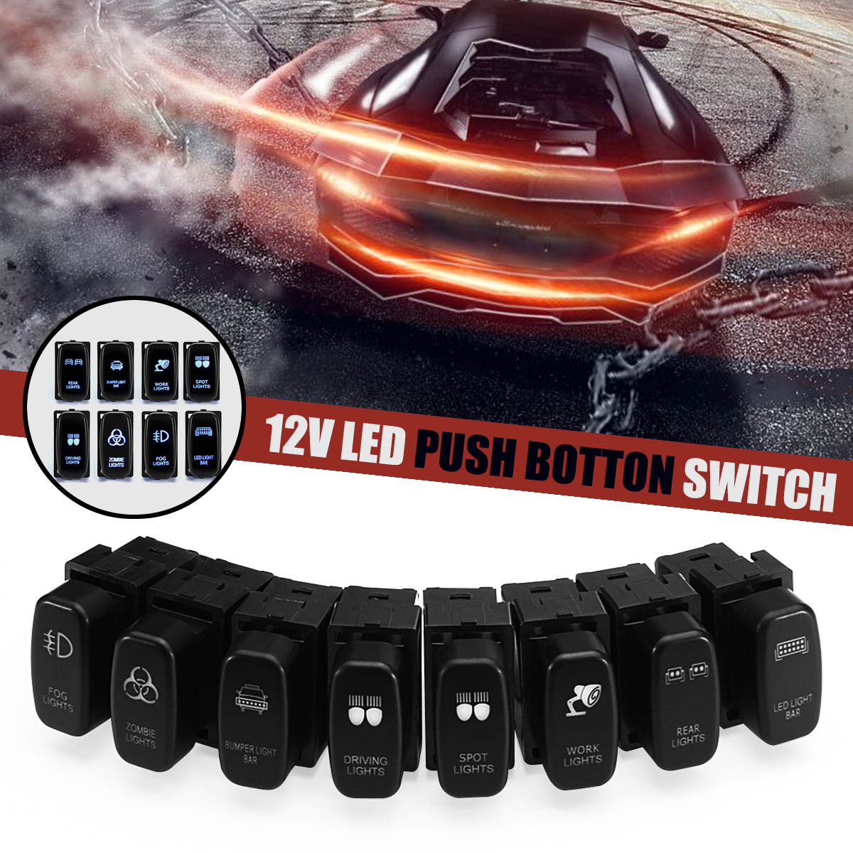 New 1pc 12V Red/Blue LED Light Bar Spot Fog Rear Light Push Button Switch Car Led Switch For Mitsubishi Pajero Trition Endeavor
