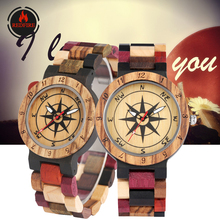 REDFIRE Couple Wood Watches Punk Fashion Compass Dial Men Watches