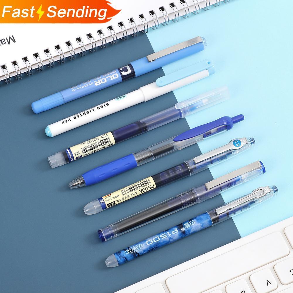 JIANWU 6pcs 7pcs/set Simplicity Color Large Gel Pen Set 0.5mm Quick-drying Straight Pen Highlighter For School Stationery Kawaii
