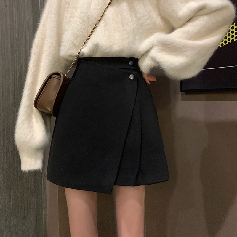 Autumn And Winter 2019 New Style Korean-style CHIC Irregular Skirt Women's Vintage A- Line Skirt Sub-Versatile High-waisted Shor