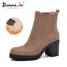 Donna-in 2019 Winter Frauen Stiefel Aus Echtem Leder Damen Schuhe Plattform High Heels Chelsea Stiefeletten Mode Weibliche Booties(China)