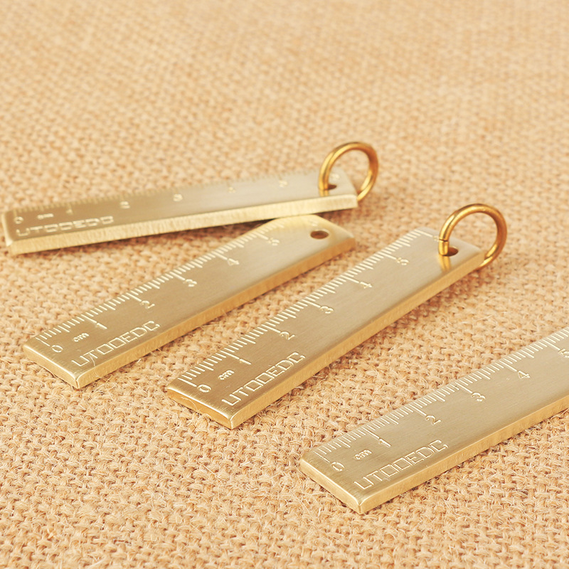 1 PCS 6cm Small Copper Ruler 3mm Thickened Brass Metal Ruler Copper Key Pendant Number Plate Drafting Supplies Mini Rulers