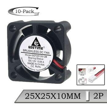 10 Uds 80 MM 80 12V 2Pin 25mm 25x25x10 MM 2510 Axial DC 12 voltios ventilador