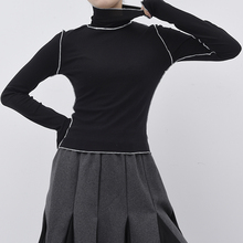 [EAM]2021New Spring Autumn  High Collar Long Sleeve Solid Color Black Reffles Split Joint Loose T-shirt Women Fashion Tide JE155