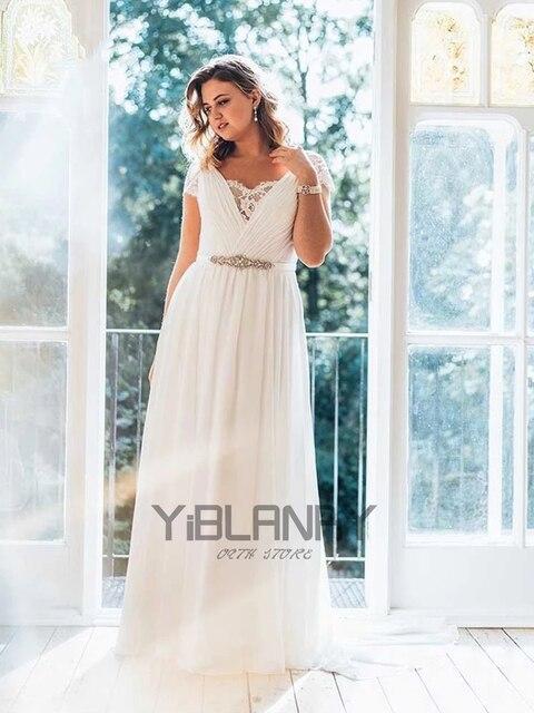 Vintage Wedding Dress Chiffon With Floor Length V-neck Short Sleeves Bride Dresses Lace Button Beading Sashes Vestido De Novia 6