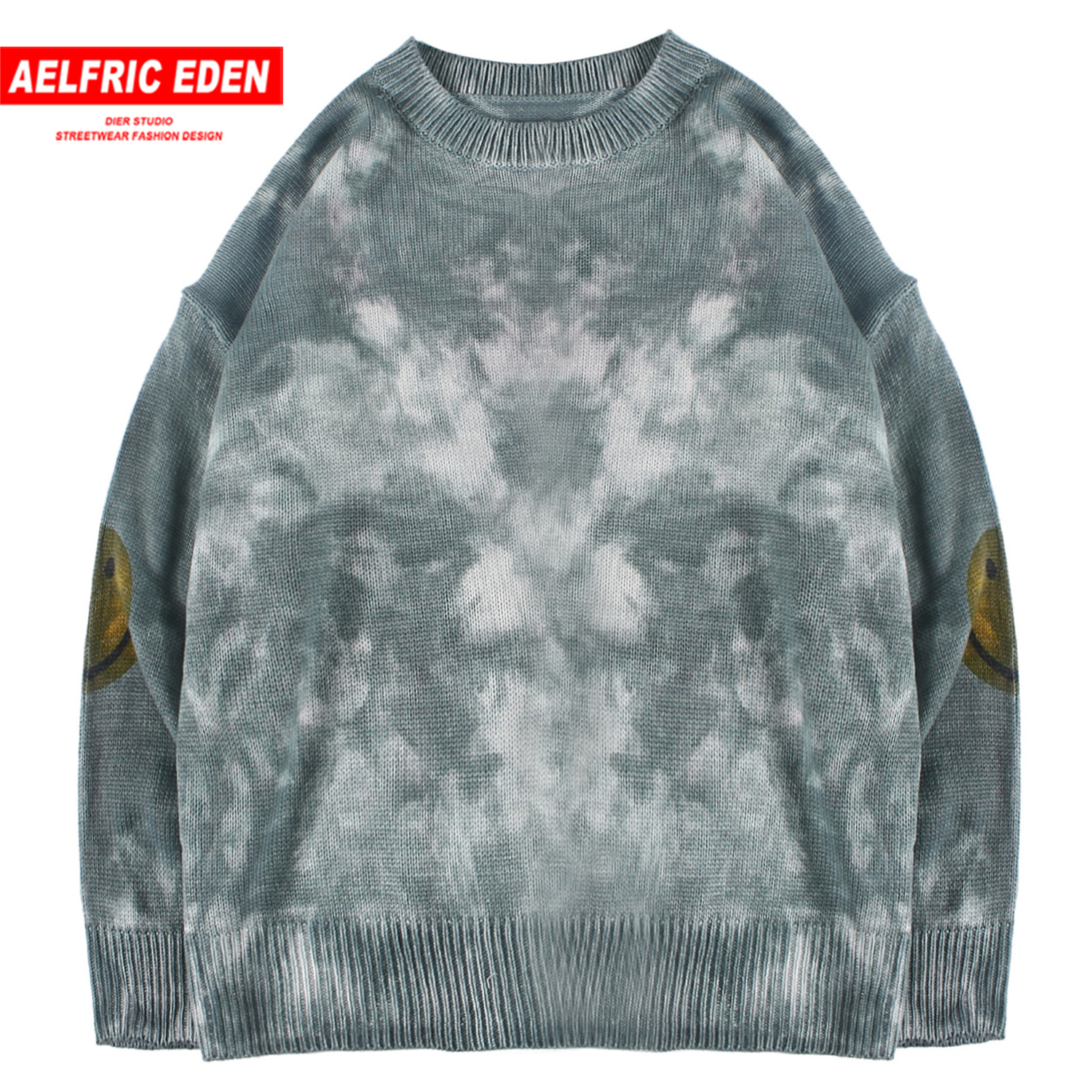 Aelfric Eden Hip Hop Tie Dyeing Knitwear Mens Sweaters 2019 Harajuku Fashion Male Oversized Male Tops Casual Streetwear Pullover