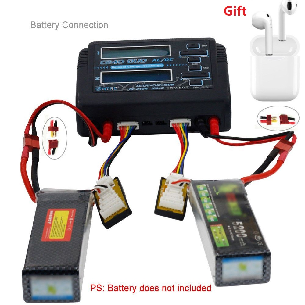 HTRC C240 DUO AC 150W DC 240W Dual Channel 10A RC Balance lipo battery Charger for RC Model Toys