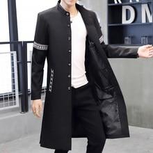 2021 Spring Autumn New Chinese Style Men's Windbreaker Outdoor Overcoat  Stand Collar Streetwear Coat Slim Long Over Knee Jacket