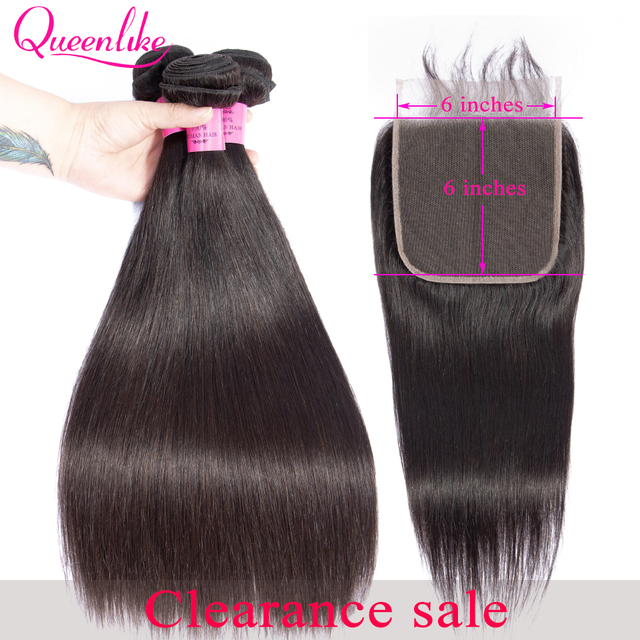 queenlike 6*6 lace closure and human hair bundles with 6×6 closure brazilian hair weave bundles straight 3 bundles with closure