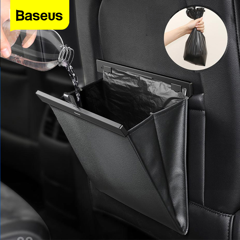 Baseus Car Organzier Backseat Storage Bag Magnetic Auto Pocket Holder Car Accessories Car Trash Bin Garbage Can Dustbin Car Bag