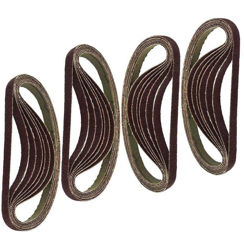 25pcs Sanding Belts 330x10mm Air Finger Sander Abrasive Sanding Belt 60 80 100 120 Grit Pack Accessories