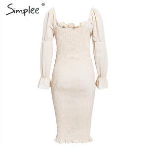 Image 3 - Simplee Gestrickte off schulter party kleid Elegante plaid puff sleeve kleid frauen Sexy streetwear damen herbst winter vestidos
