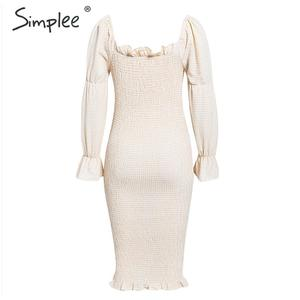 Image 3 - Simplee Knitted off shoulder party dress Elegant plaid puff sleeve dress women Sexy streetwear ladies autumn winter vestidos