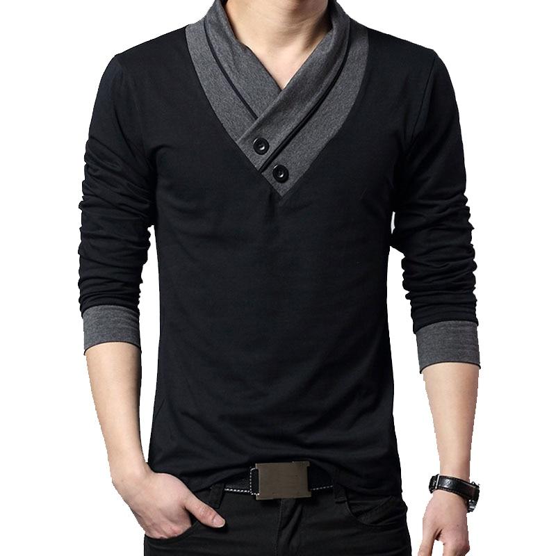2021 Fashion Brand Trend Slim Fit Long Sleeve T Shirt Men Patchwork Collar Tee V-Neck Men T-Shirt Cotton T Shirts Plus Size 5XL