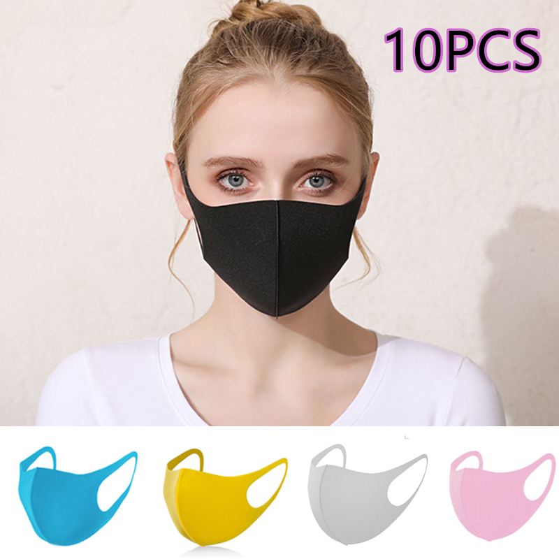 10PCS Summer Mask Breathable Washable Repeated Use Adult Only Anti-Dust Pollution Of The Environment-Style Black Waterproof Mask