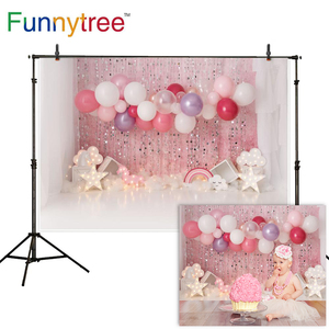 Funnytree Smash Cake One Year First Birthday Party Photography Backdrop Indoor Decor Pink Balloons Light Background Photo Studio
