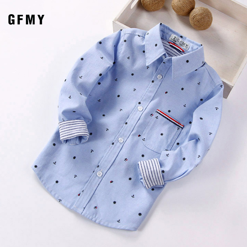 GFMY 2019 Autumn Full Sleeve Printed Anchor Auspicious Pattern boy Shirts 3T-12T Kid Casual Clothes