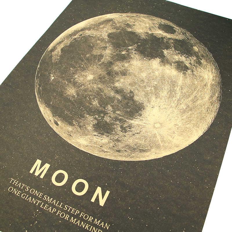 DLKKLB Moon โปสเตอร์คลาสสิกที่ยอดเยี่ยมขั้นตอนสำหรับมนุษย์กระดาษคราฟท์ Vintage สไตล์สติกเกอร์ 51x36 ซม.Bar Cafe ตกแต่งภาพวาด