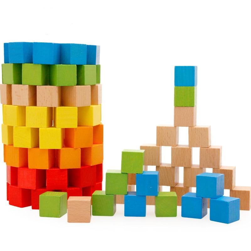 100 pièces coloré bâtiment en bois bloc à découper bébé forme géométrique éducatifs en bois jouets bébé jouet jeu cadeaux pour enfants