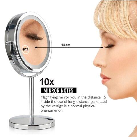 rotacao desktop suporte 17 leds espelho cosmetico