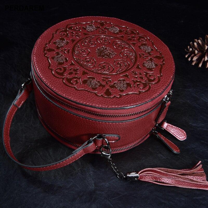 Bandolera de cuero para mujer pequeños bolsos redondos retro estilo chino Portátil Bolsa de mensajero un hombro bolso cilíndrico piel de vaca - 6