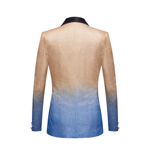 Image 2 - PYJTRL Mens Fashion Gradient Color Shiny Gold Blue Champagne Pink Black Slim Fit Blazer Stage Singer Prom Dress Suit Jacket