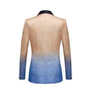 Image 2 - PYJTRL erkek moda degrade renk parlak altın mavi şampanya pembe siyah Slim Fit Blazer sahne şarkıcı balo elbise takım elbise ceket