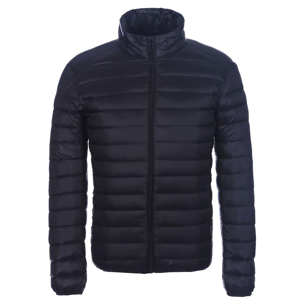 Autumn Winter Jacket Men Thin Coats 90% Duck Down Ultra-light Slim Stand-Collar Warm Parkas Snow Casual Outwear