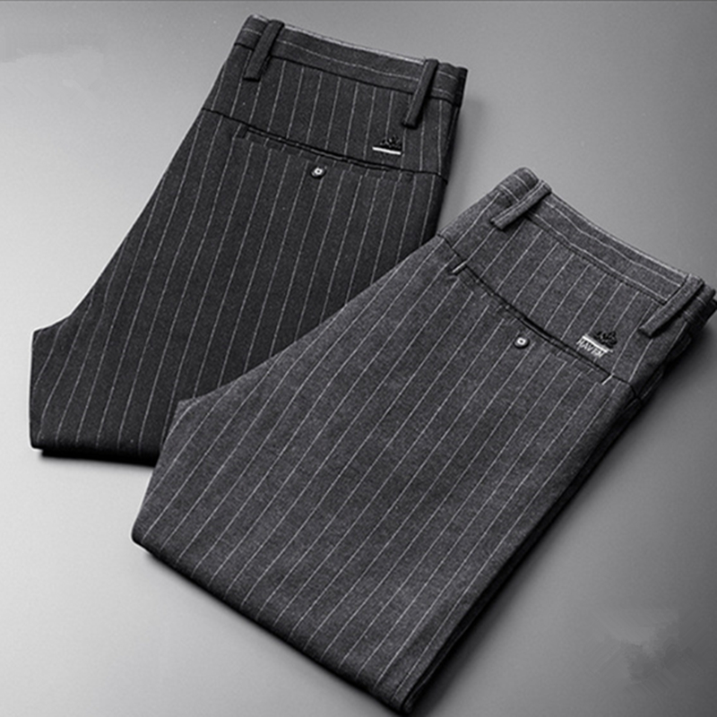 ICPANS Autumn Striped Dress Trousers Men's Polyester Wool  Male Suit Pants Korean Business Work Office Trousers Version  Slim