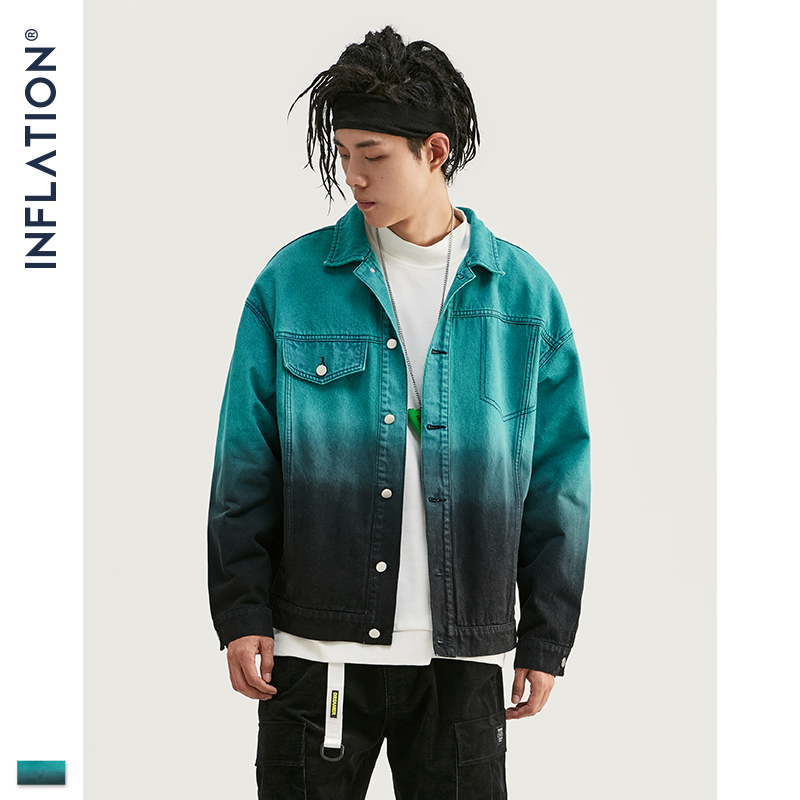 INFLATION FW Men Denim Jacket Tie Dye Wash Loose Fit Men Jeans Denim Jacket Oversized Streetwear Men Denim Jacket Coat 9733W