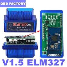 V1.5 elm 327 bluetooth obd2 scanner para android/pc obd2 elm327 bluetooth adaptador elm 327 v1.5 pic18f25k80 ferramenta de diagnóstico automático