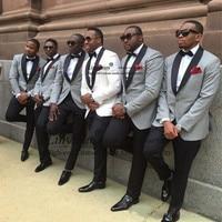 slim fit groom tuxedo White/light grey Jacket+Pants mens Tuxedos with Black lapel best men suits Custom Made Groomsmen suits