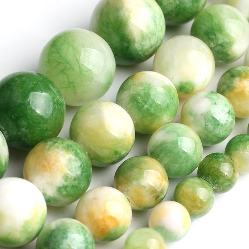 Wholesale 6 8 10 12 Mm Natural Green Yellow Jade Gem Stone Beads For Jewelry Making DIY Bracelet Necklace Round Loose 15 Inch