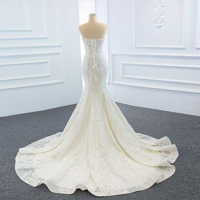 2021 New Arrivals 2 Pieces Pearls Lace Mermaid Wedding Dress With Detachable Chapel Train Vestido De Noiva Sereia 2 Em 1 5