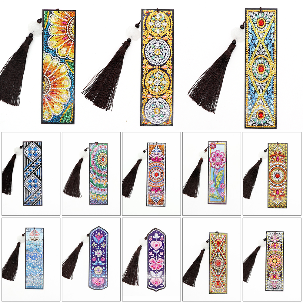 HUACAN 5D Diamond Painting Special Shaped Bookmark Diamond Art Embroidery Cross Stitch Leather Tassel Book Marks Gift