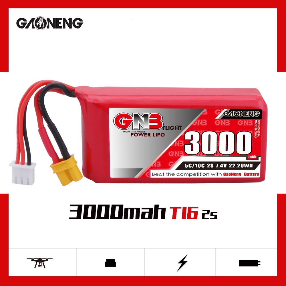 Gaoneng GNB <font><b>3000mAh</b></font> 2S1P <font><b>7.4V</b></font> 5C/10C <font><b>Lipo</b></font> <font><b>Battery</b></font> with XT30 and XT60 Plug For JUMPER T16 Receive remote control RC Parts image