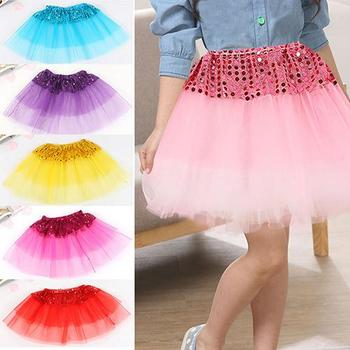 Fashion Cute Girl Kid Dancewear Tulle Sequin Princess Skirt Dance Party Pettiskirt Mesh Half-length