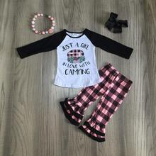 Fall/winter baby girls children clothes just a girl in love with camping plaid ruffles cotton outfits boutique match accessories