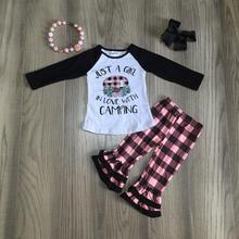 Outono/inverno do bebê meninas crianças roupas apenas uma menina no amor com camping plaid ruffles algodão boutique roupas jogo acessórios